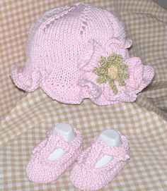 Free Pattern Baby Hat And Shoes Knitting Pattern By