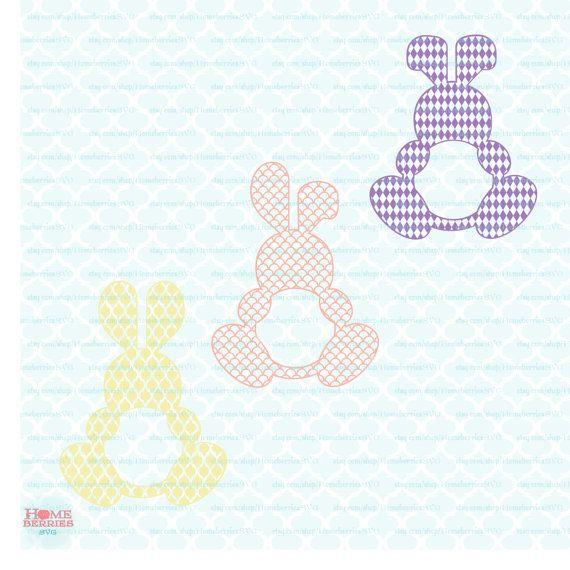 Patterned Easter SVG Lily Split Monogram Frames, Easter Cutting ...