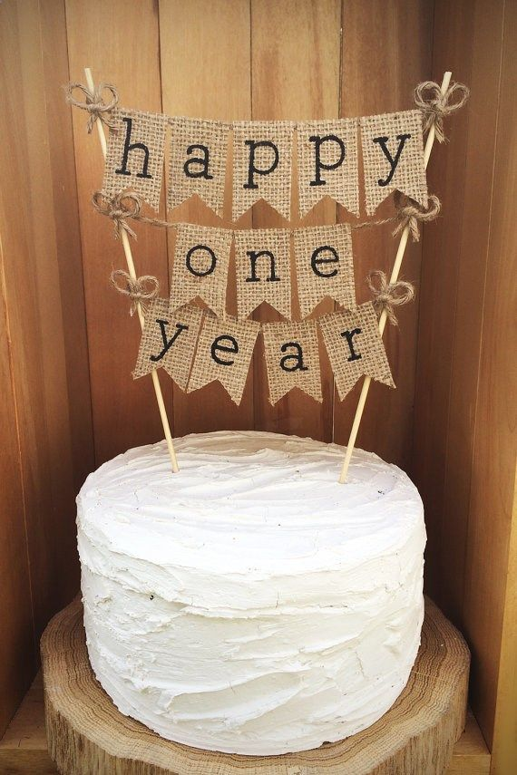 Happy One Year Cake Topper Rustic Anniversary Cake Topper One Year