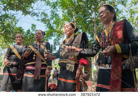 Tamparuli Sabah Malaysia, Mar 9, 2016 : A group of female shamans from Lotud tribe performing ritual during Solar eclipse on Mar 9, 2016.The tribe believes the eclipse is caused by the bad spirits.