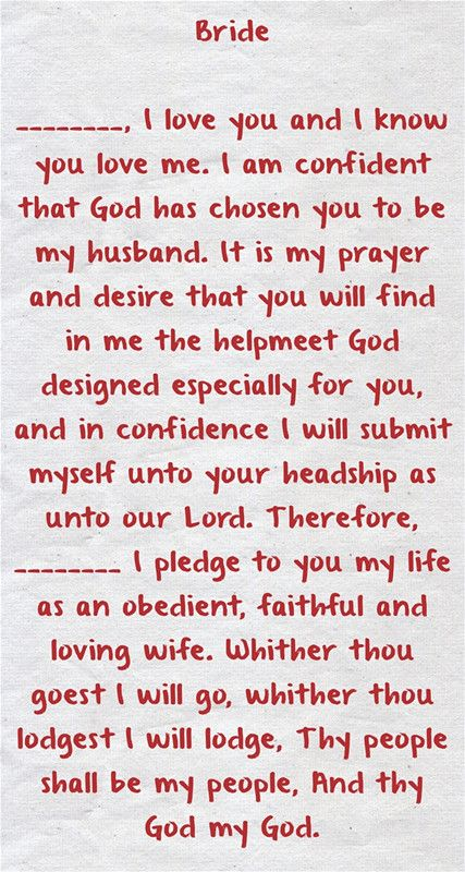 Christian Wedding Vows Examples For Groom And Bride Weddinginclude Christian Wedding Vows Wedding Vows To Husband Christian Wedding