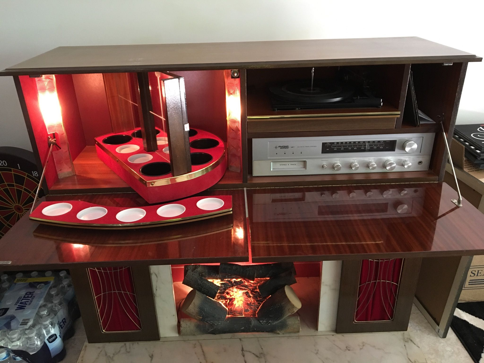 The Phono Sonic Liquor Cabinet Stereo With Fireplace It