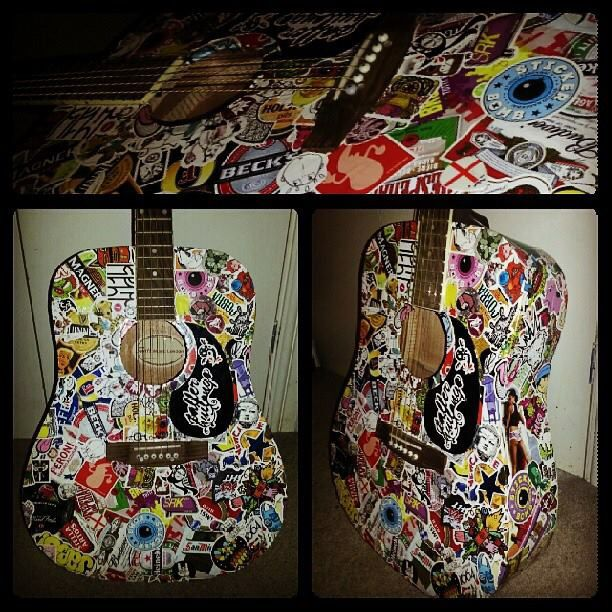 Sticker Bombed Acoustic Guitar Sticker Bomb Bombs Guitar