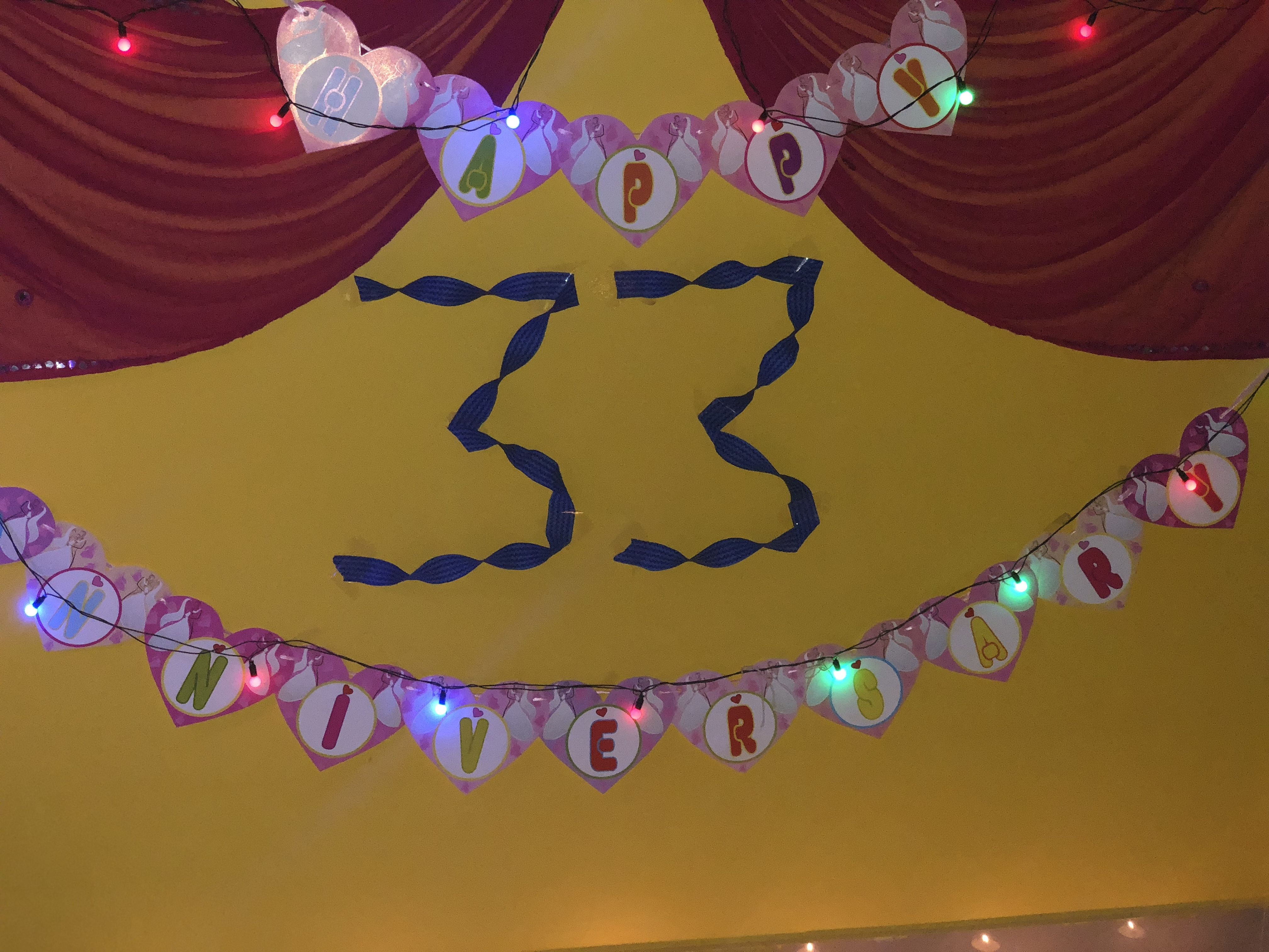 Decoration By Dupatta For Anniversary Party At Home ...