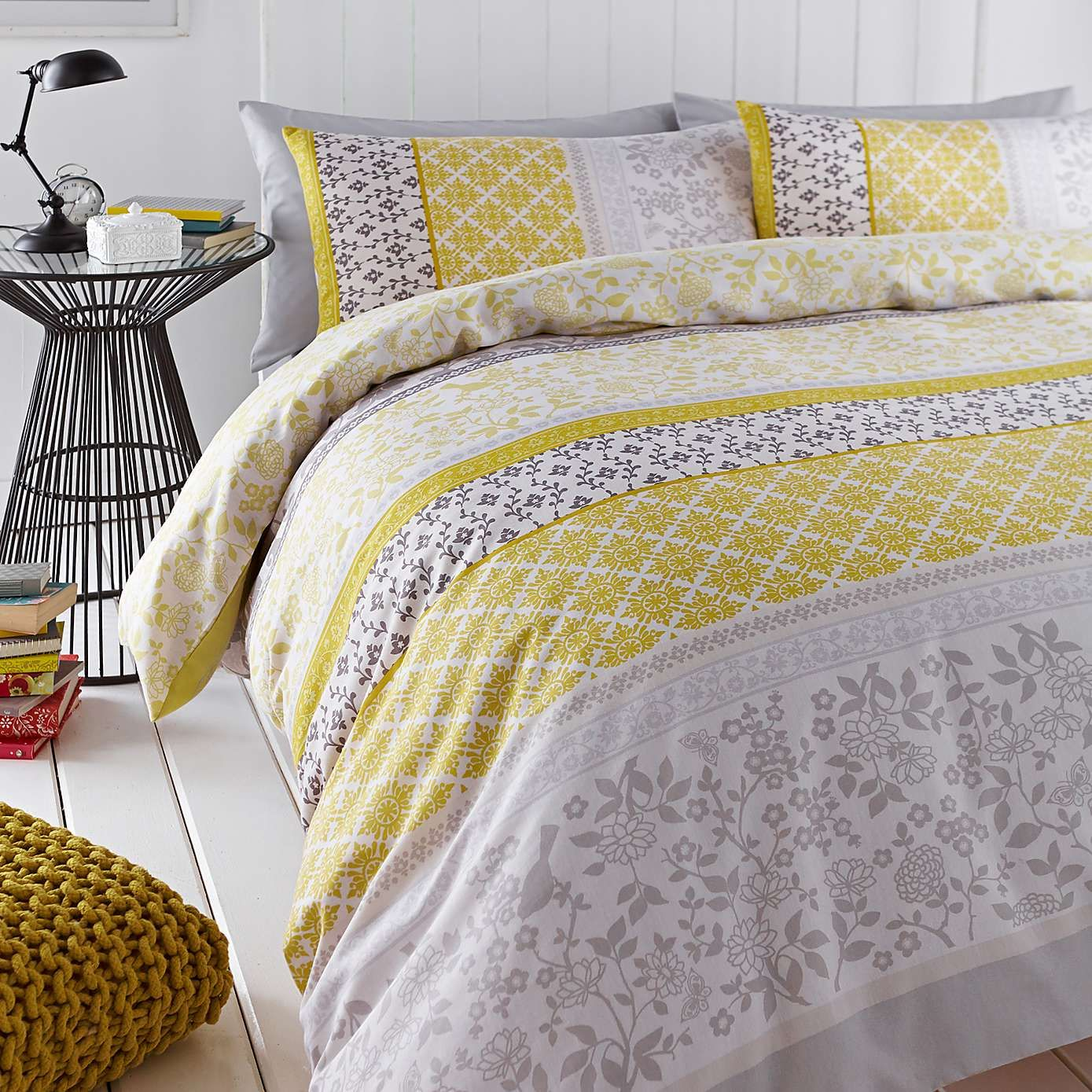 Catherine Lansfield Oriental Birds Yellow Duvet Cover and