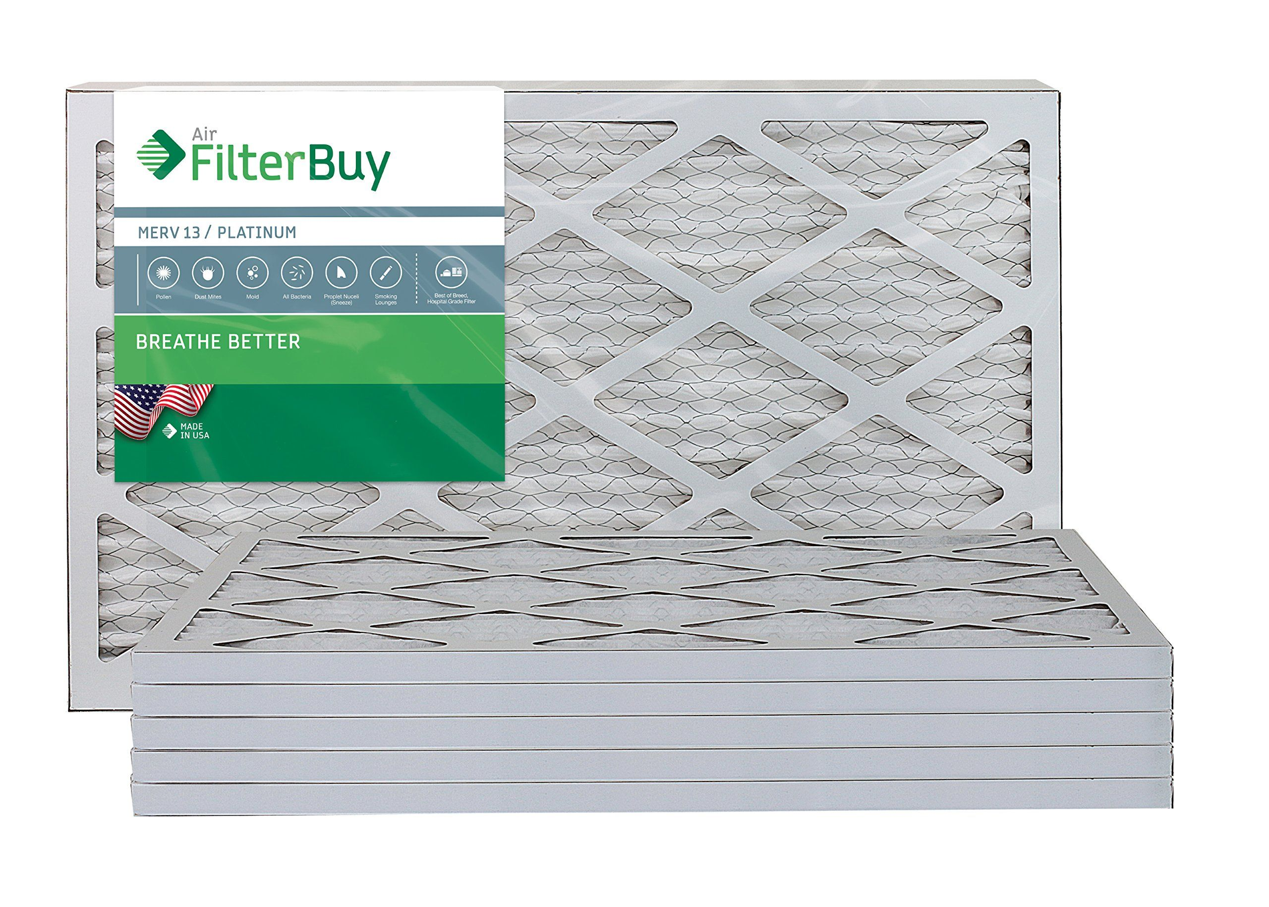FilterBuy 16x25x1 MERV 13 Pleated AC Furnace Air Filter