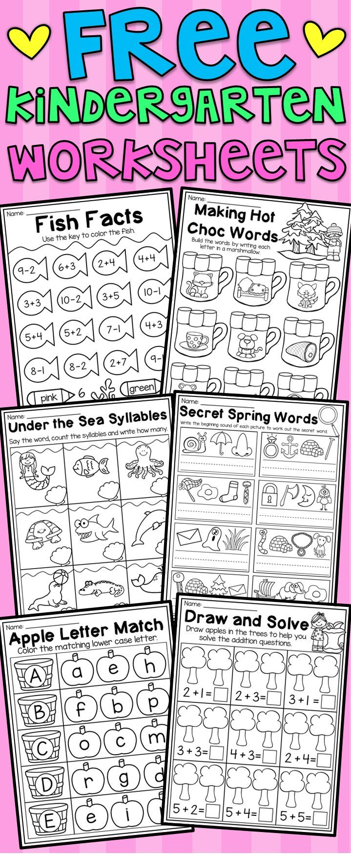 Free Kindergarten Math And Language Arts Worksheets This Free Pack Includes Six Ma Kindergarten Math Free Free Kindergarten Worksheets Homeschool Kindergarten [ 1747 x 719 Pixel ]