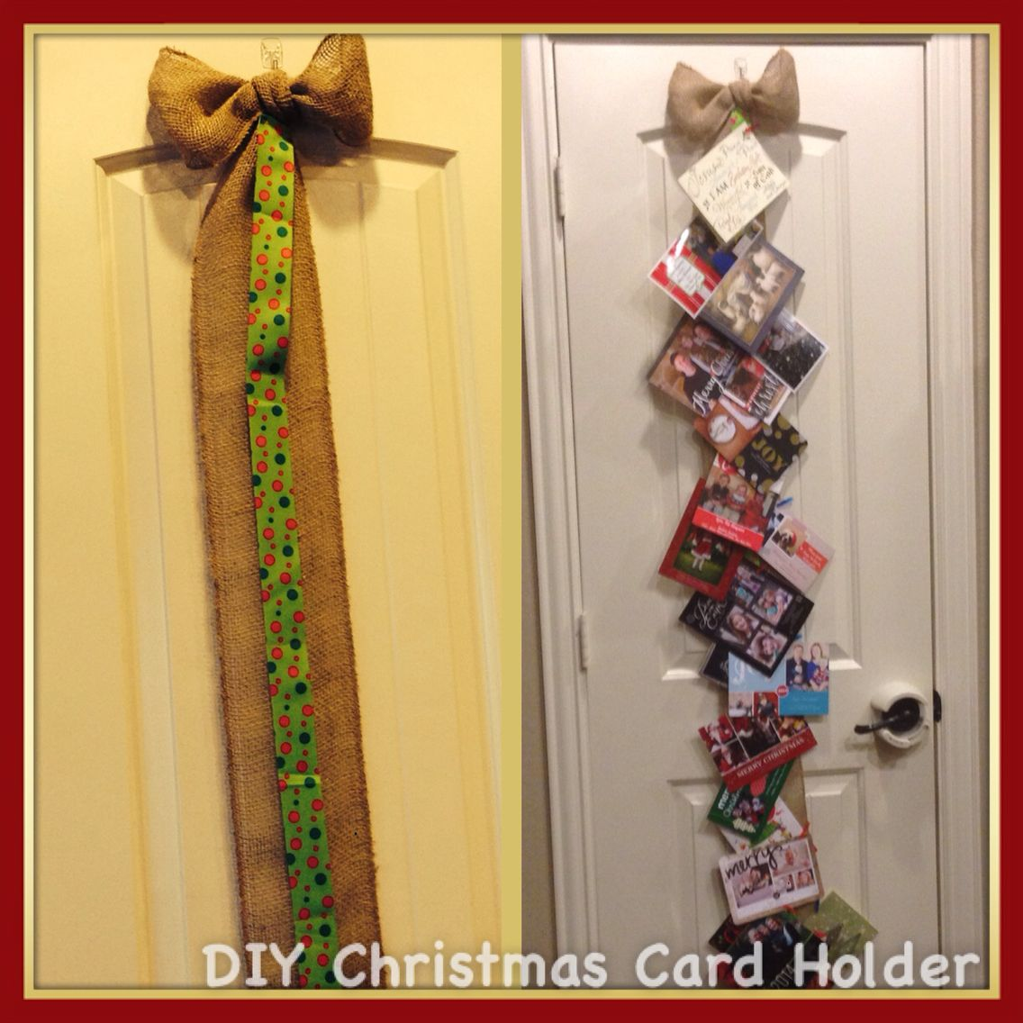 Diy Burlap And Grosgrain Ribbon Card Holder With Images Diy