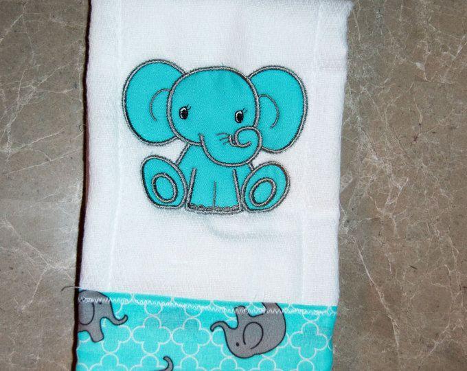Babyzimmer mint ~ Elephant burp cloth baby mint aqua grey embroidered monogram spit