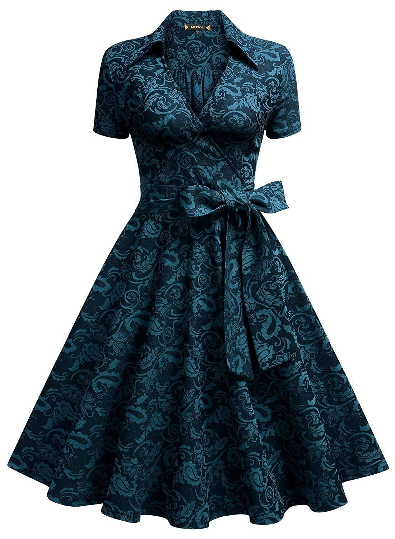 Miusol Women S Deep V Neck Classical Bow Belt Vintage Casual Swing Dress Swing Dress Vintage Style Dresses Pretty Dresses [ 1500 x 1100 Pixel ]