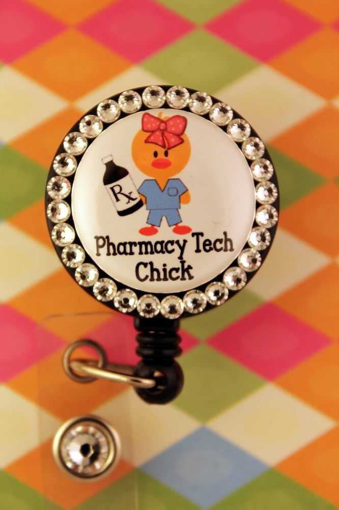 Badge Reel Name Holder Swarovski Elements Pharmacist Pharmacy