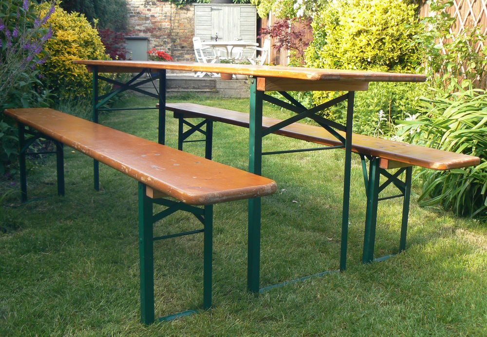 INDUSTRIAL GERMAN BEER GARDEN TABLE & 2 BENCHES - retro vintage mid ...
