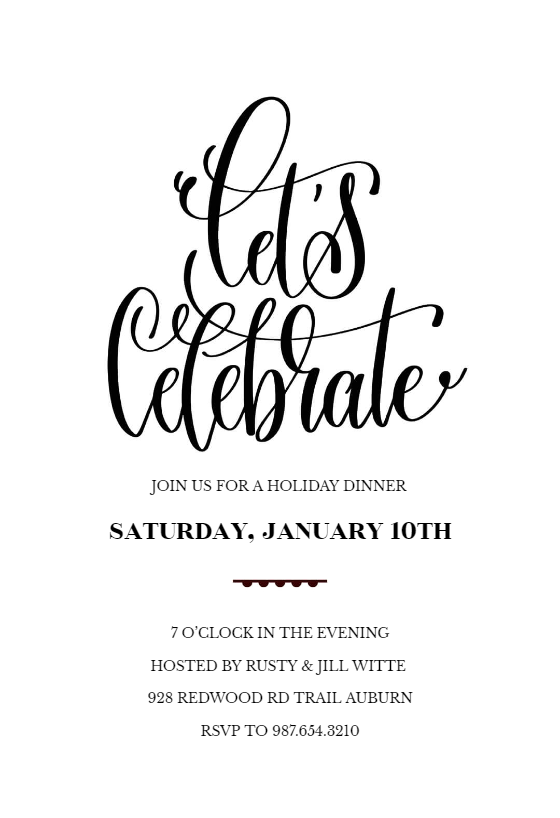 Lets Celebrate - Dinner Party Invitation Template (Free (With ...