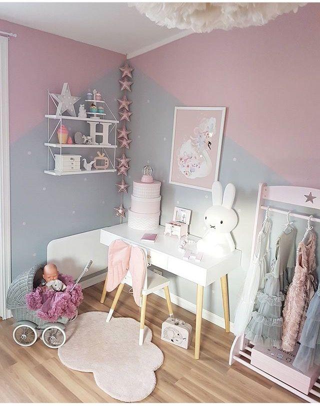 Geometric pink & grey painted walls in girls bedroom ...