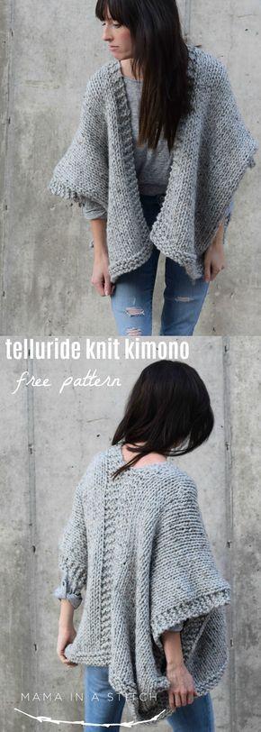 Telluride Easy Knit Kimono Pattern Tricot Pinterest Knitting