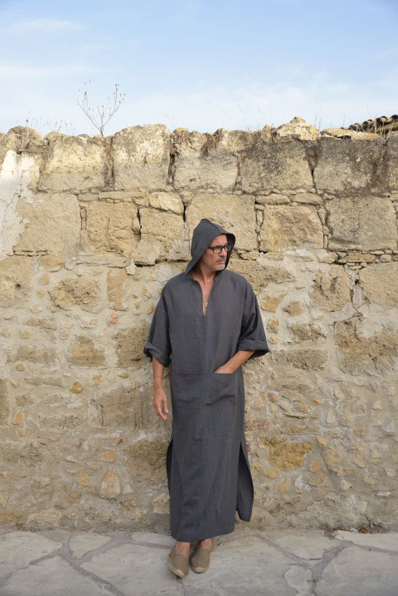 a2fef7d1e4 CLASSICO. Mens hooded or non hooded Black linen kaftan in 2018 ...