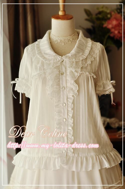 Restocked: Dear Celine Lace Collar Puff Sleeve Chiffon Silver Striped Lolita Blouse >>> http://www.my-lolita-dress.com/babydoll-collar-lace-strips-chiffon-lolita-shirt-dc-6