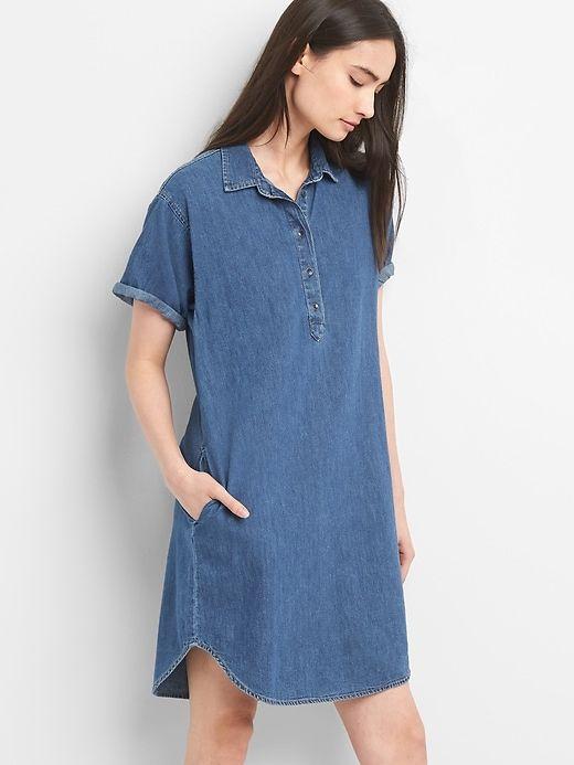 ce063af2b9c Gap Womens Short Sleeve Denim Pullover Shirtdress Medium Indigo ...