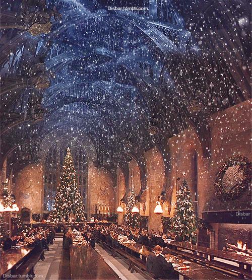Winter Snow Hogwarts Weihnachten Hogwarts Grosse Halle Und Weihnachtshintergrund