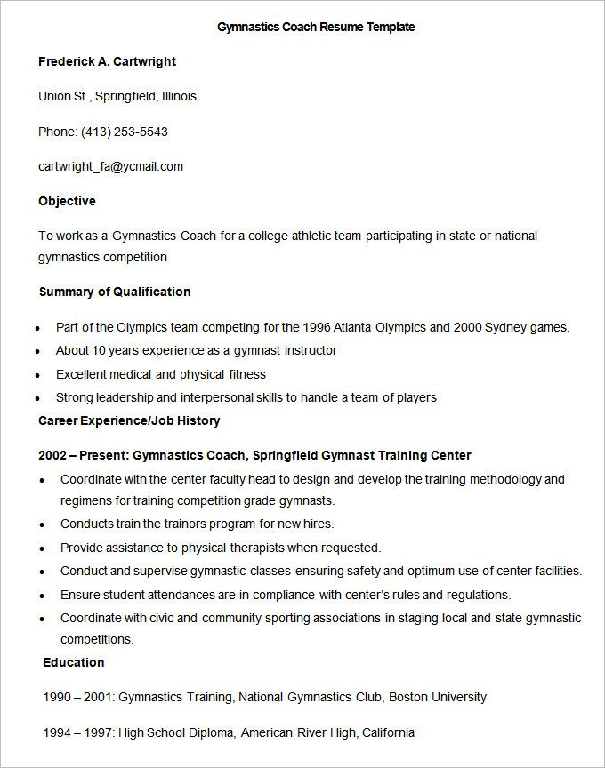 Sample Gymnastics Coach Resume Template  How To Make A Good