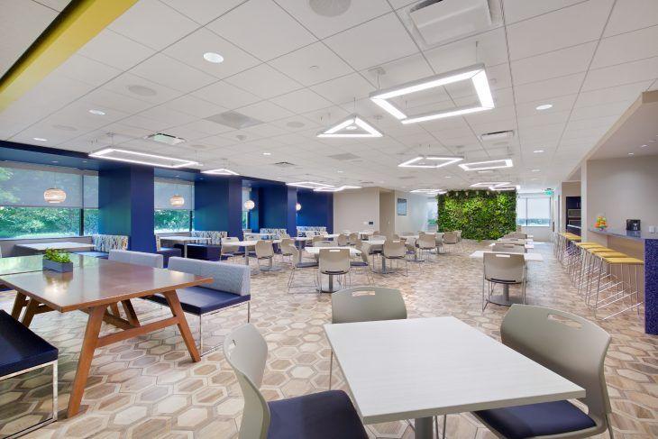 A Fresh And Tech Savvy Workspace For A Multigenerational Tax Company Break Room Ideas King Of Prussia Break Room Open Office