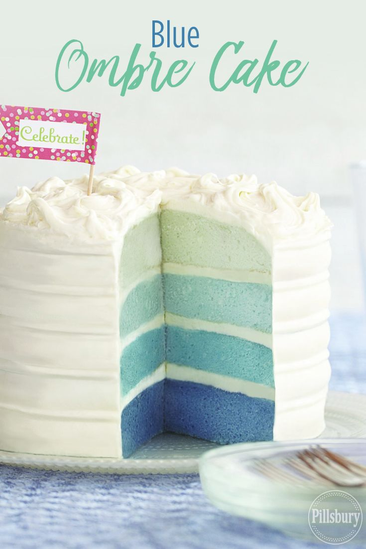 Blue Ombre Cake Recipe Gender Reveal Cake Baby Reveal Cakes Ombre Cake