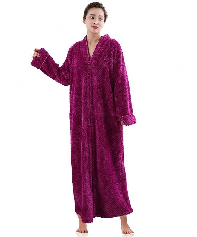 c2f28d9a40 Womens Soft Long Fleece Dressing Gown Full Length Fluffy Bathrobe Sleepwear  Zip Up - Rose Red - C1188GXRCGE