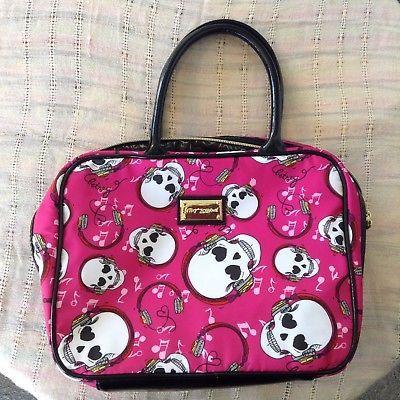 Betsey Johnson Makeup Bag Skulls Pink