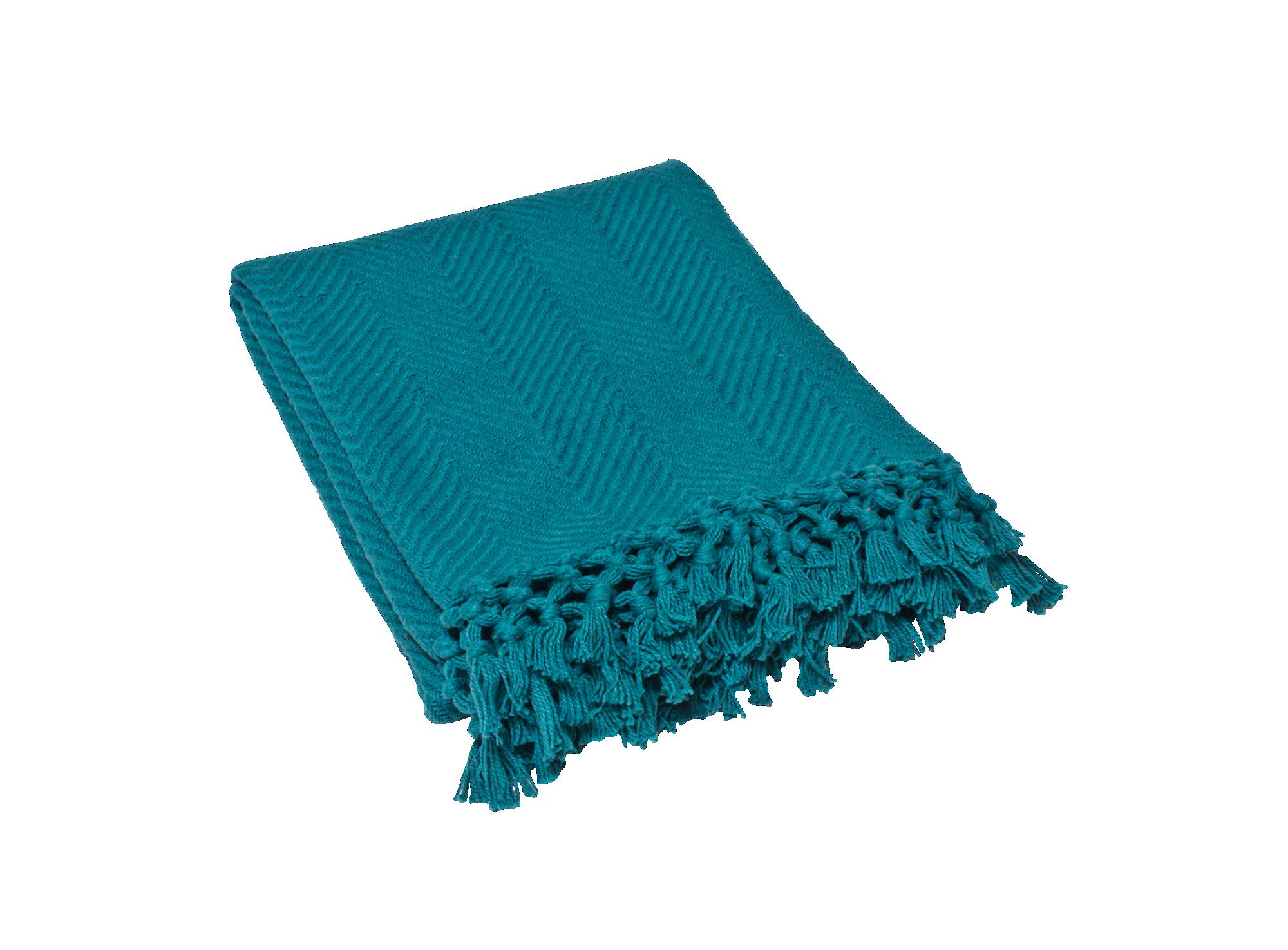 Plaid Coton 130x160 Bleu Canard Plaid Textile Deco Textile