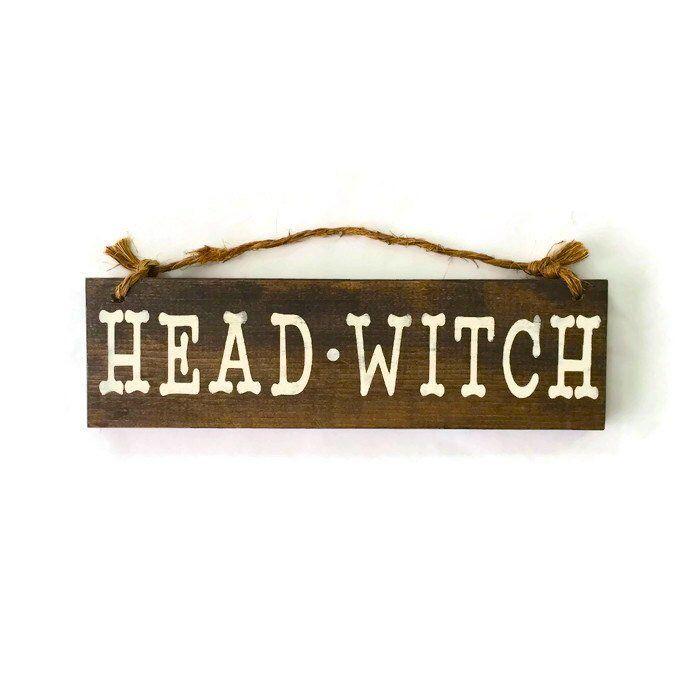 Head Witch Wood Sign / Halloween Decor / Office Decor / Bohemian