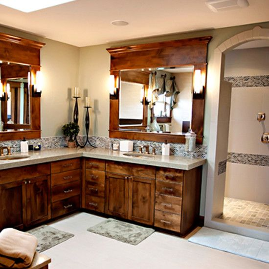 Bathroom L Shaped Vanity Design, This Could Work Too   Notice The Walk In  Shower