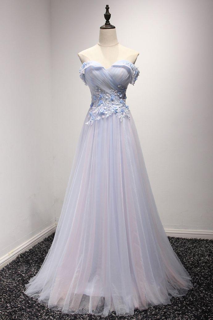 Elegant Long Tulle Prom Dresses For Teens,Cheap Prom Dresses,Simple ...