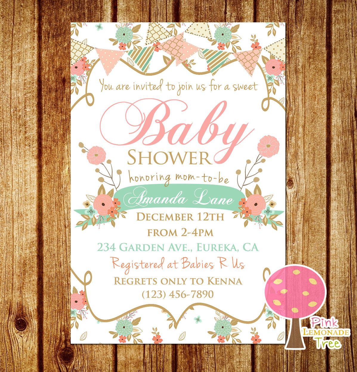 Shabby Chic Baby Shower Invitation, Peach and Mint Baby Shower ...