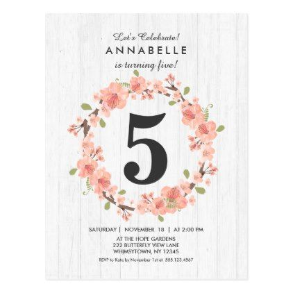 White wood peach floral birthday party invitation postcard white wood peach floral birthday party invitation magnet birthday diy gift present custom ideas filmwisefo Choice Image