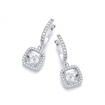 Hexyo Platinum on 925 Sterling Silver Drop Earrings White Diamond CZ Crystal Wedding Jewelry Gift for Women