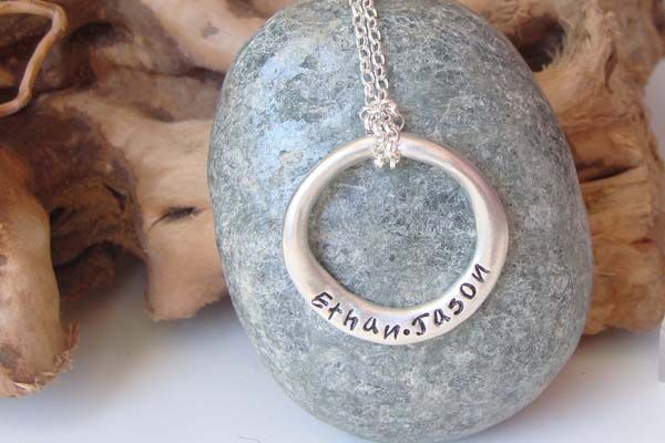 Personalised hand stamped sterling silver ring pendant large personalised hand stamped sterling silver ring pendant large 4000 dino daisy personalised stamped jewellery dinodaisy necklaces pinterest aloadofball Choice Image