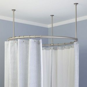 Round Curved Curtain Rod Design For Modern Bathroom Decorations Ideas
