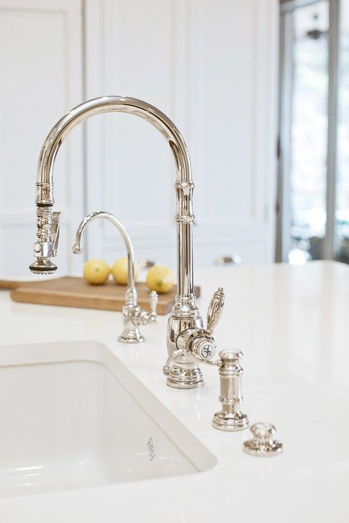 Faucet Waterstone In Action Kitchen Sink Faucets Polished Nickel White