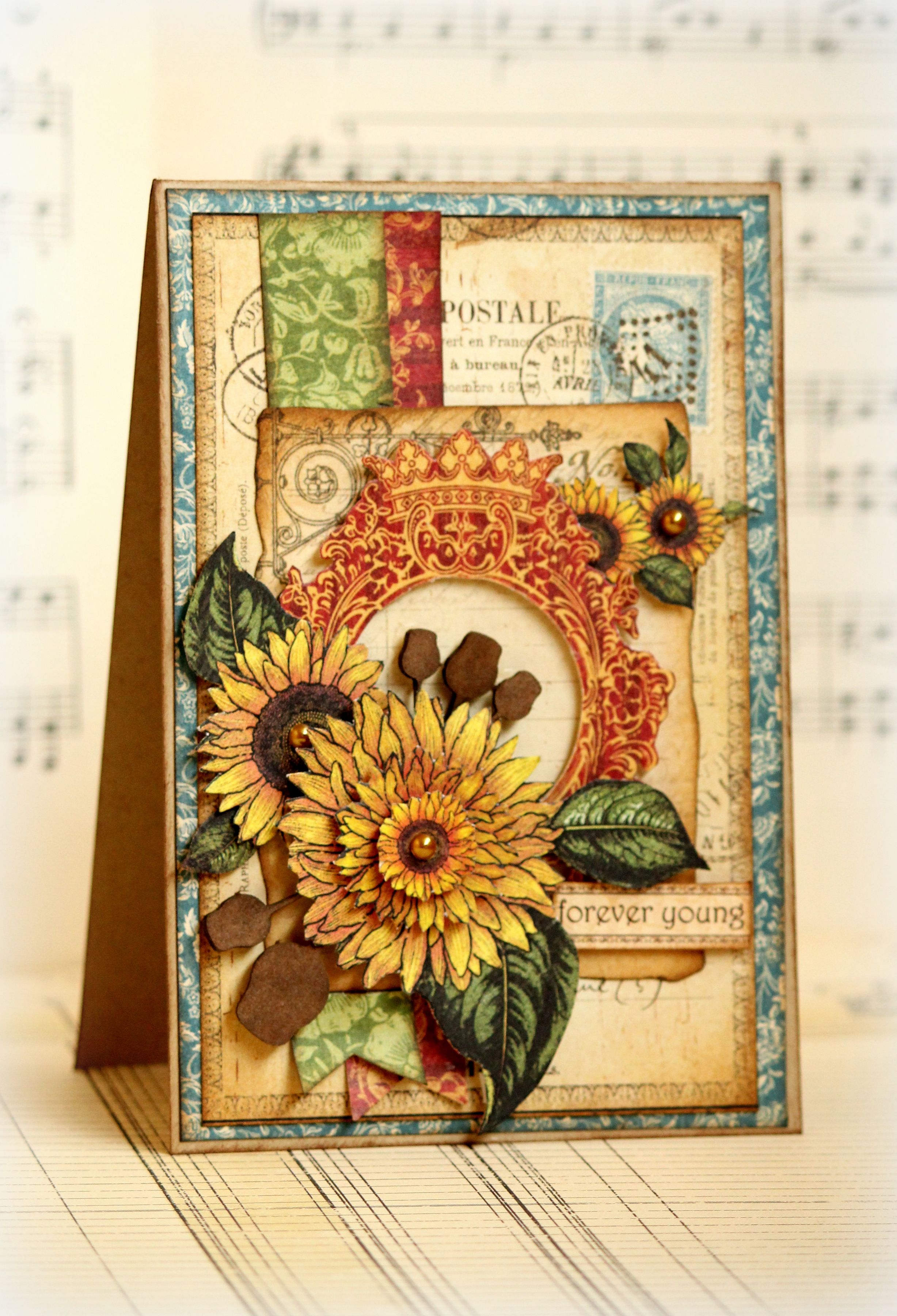 Forever Young Dusty Attic Guest Designer Scrapbook Com Graphic 45 Cards Handmade Sunflower Cards