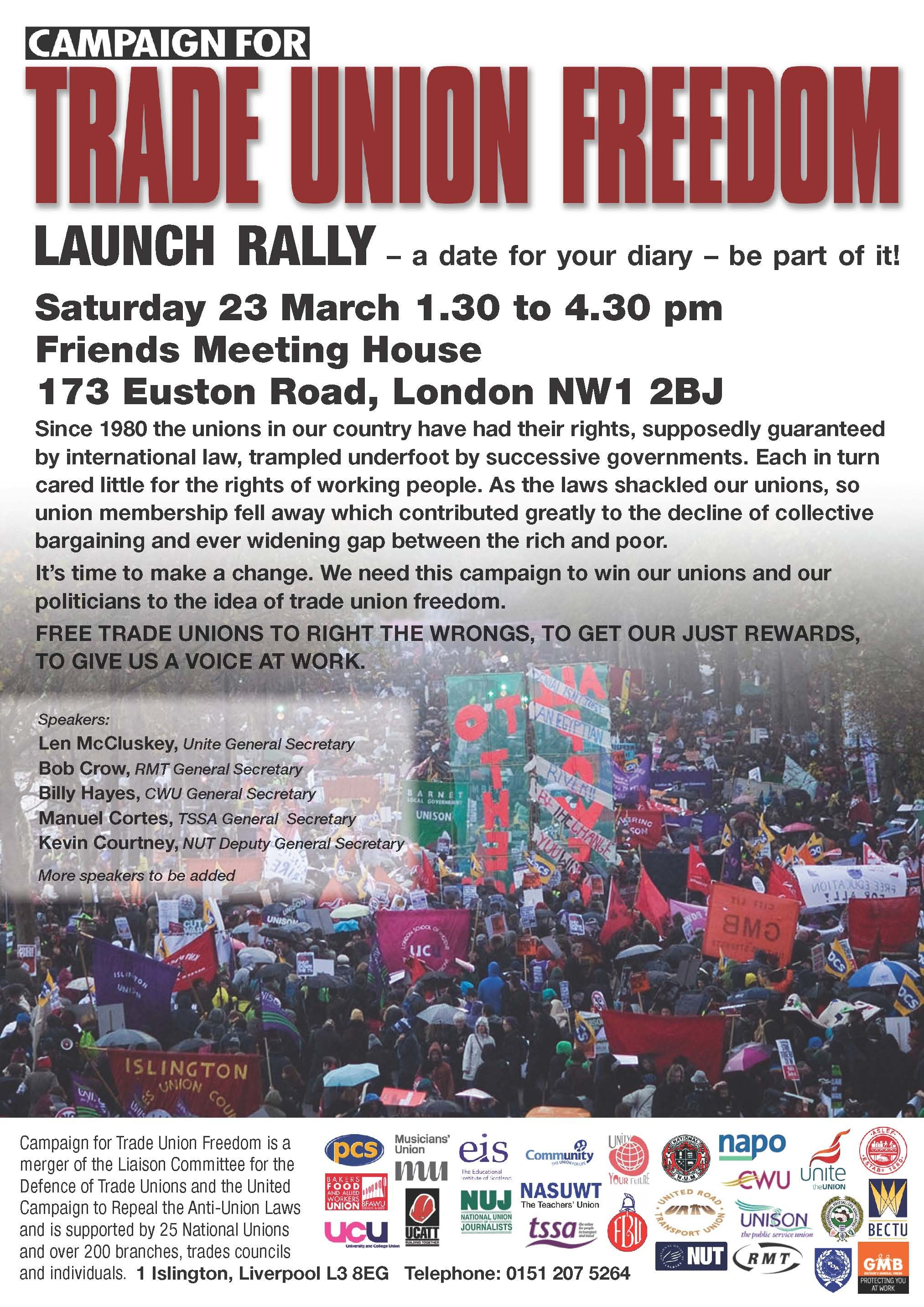 Unite are fully behind the new campaign for Trade Union freedom in the UK - launch rally 23rd March