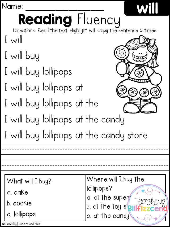 FREE Kindergarten Reading Fluency and Comprehension – Reading Fluency Worksheets