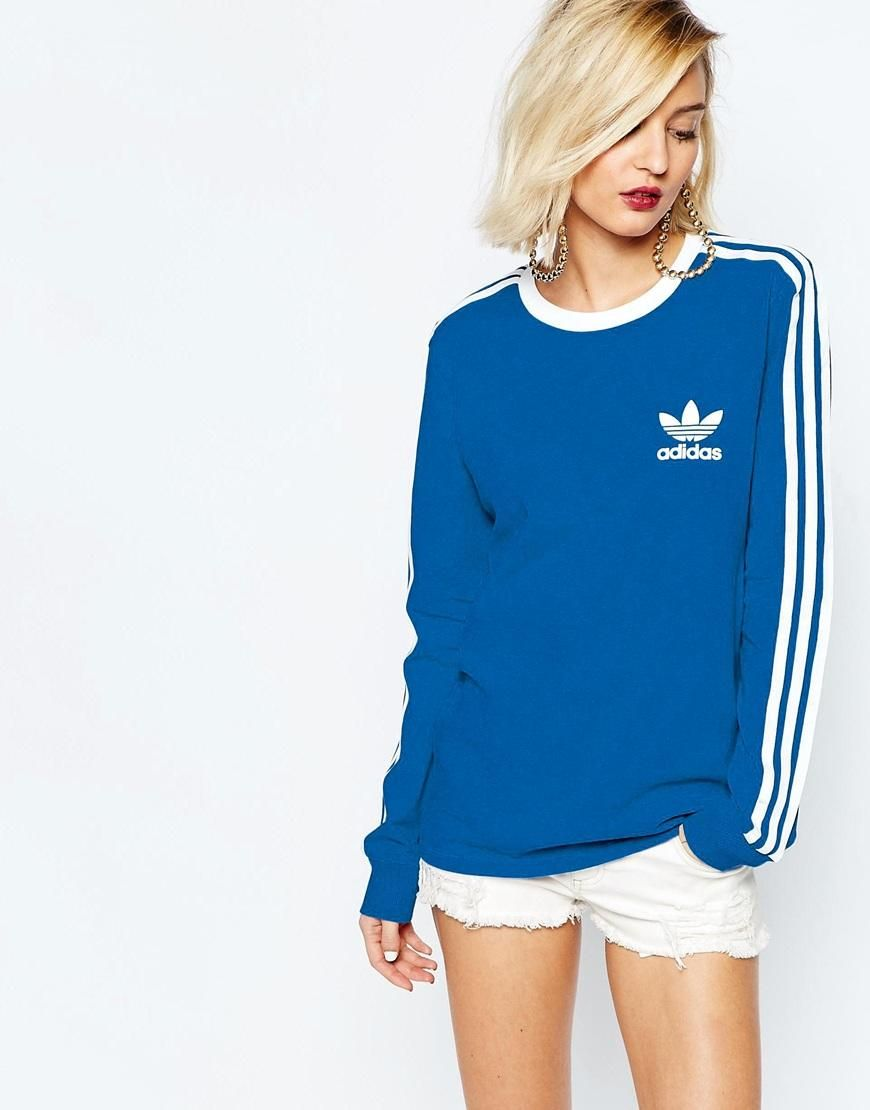 Adidas | adidas Originals Adicolour Long Sleeve Top With 3 Stripe Logo at  ASOS