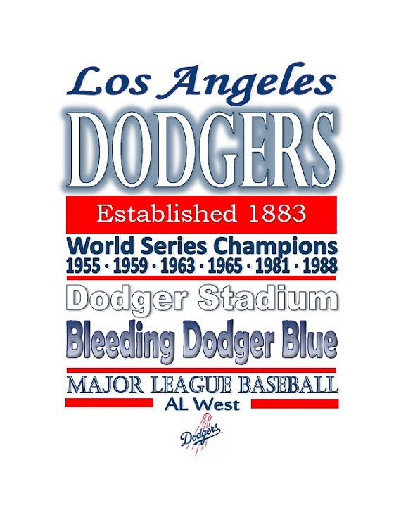 Los Angeles Dodgers Printable Decor Sign By Simplyostuff On Etsy