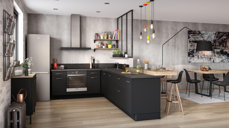 Panneau Melamine Noir Mat indus   cuisine style industriel, cuisine indus et cuisine