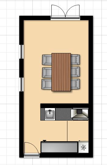 Plattegrond keuken plattegronden pinterest plattegronden en keuken - Gemeubileerde woonkamer ...