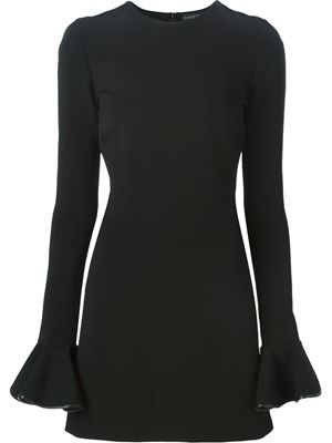 trimmed ruffled sleeves dress