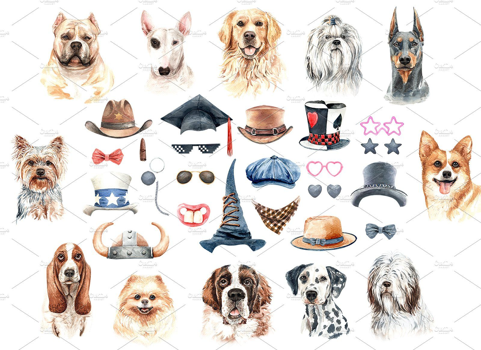 Dog Watercolor Animal Clipart Watercolor Dog Animal Clipart