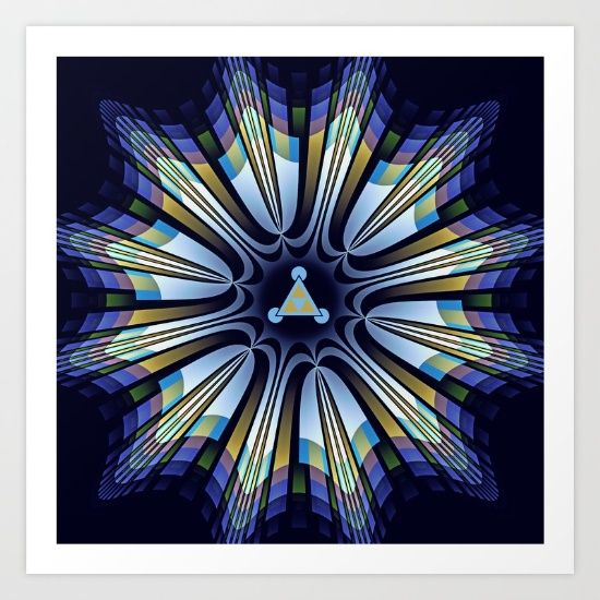 Retro design star in blue, gold, green and pink Art Print