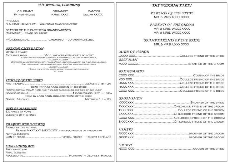 Catholic Wedding Program Catholic Wedding Program Example Good