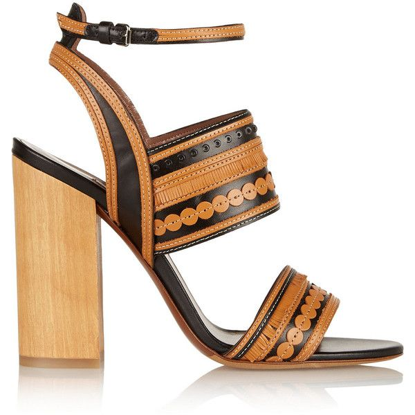 Tabitha Simmons Shaewood leather sandals ($490) ❤ liked on Polyvore featuring shoes, sandals, tan, tan high heel sandals, buckle sandals, ankle wrap sandals, leather sandals and buckle shoes
